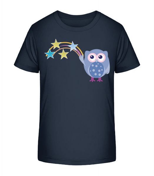 Cute Owl With Stars - Kid's Premium Bio T-Shirt - Navy - Vorn