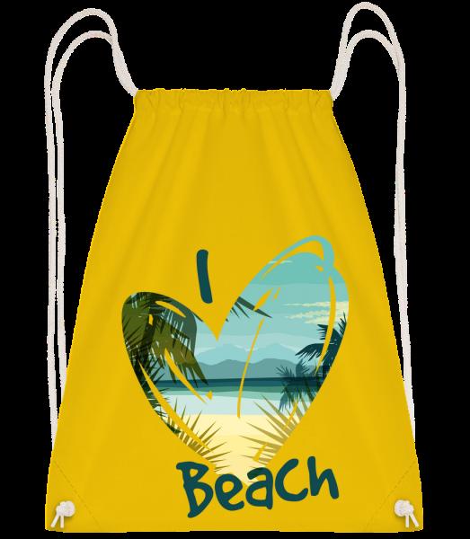 I Love Beach Heart - Drawstring Backpack - Yellow - Vorn