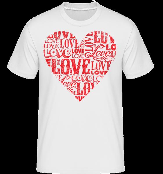 Love Heart Red -  Shirtinator Men's T-Shirt - White - Vorn