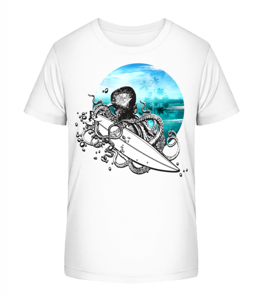 Surfer Octopus - Kid's Premium Bio T-Shirt - White - Vorn