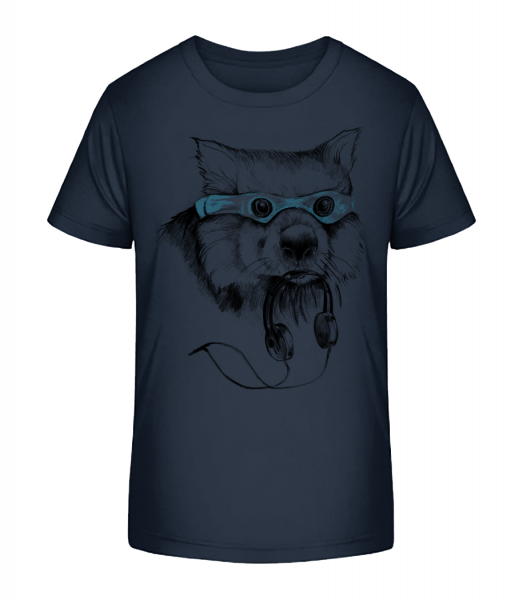 Funny Raccoon With Swimming Goggles - Kid's Premium Bio T-Shirt - Navy - Vorn