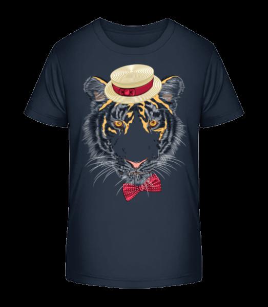Tiger With Hat - Kid's Premium Bio T-Shirt - Navy - Vorn