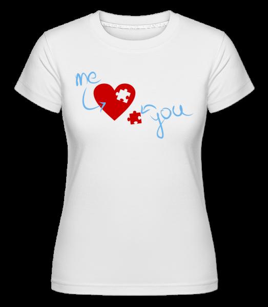 I Love You Puzzle Heart - Shirtinator Women's T-Shirt - White - Vorn