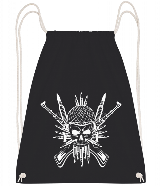 Soldier Skull Tattoo - Drawstring Backpack - Black - Vorn