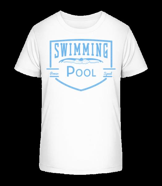 Swimming Pool Sign - Kid's Premium Bio T-Shirt - White - Vorn