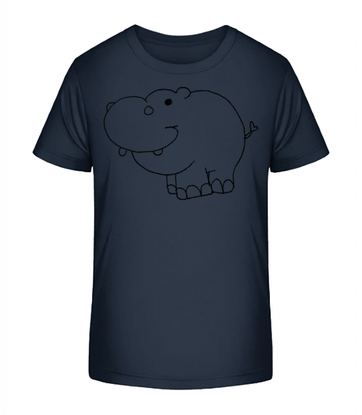 Kids Comic - Hippo - Kid's Premium Bio T-Shirt - Navy - Vorn