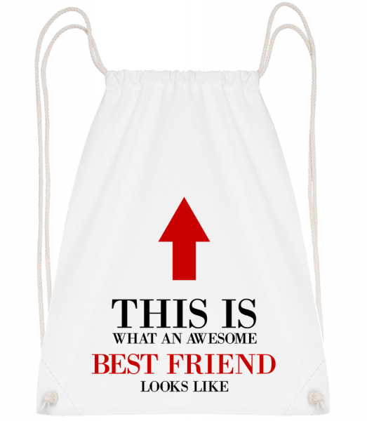 Awesome Best Friend - Drawstring Backpack - White - Vorn