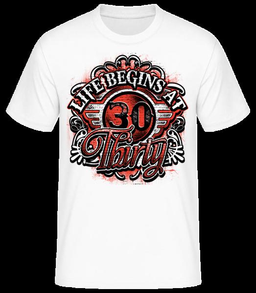 Life Begins At 30 - Men's Basic T-Shirt - White - Vorn