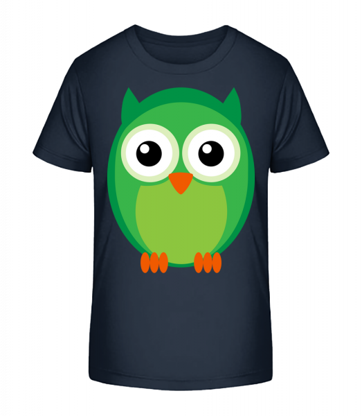 Kids Owl Green - Kid's Premium Bio T-Shirt - Navy - Vorn
