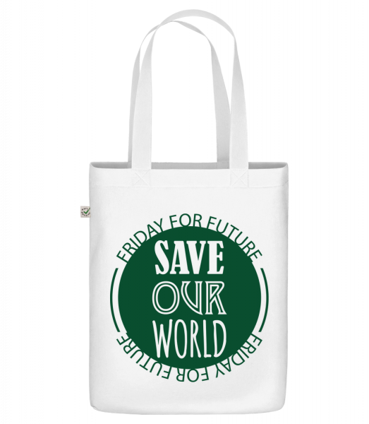 "Save Our World - Organic ""Earth Positive"" tote bag - White - Vorn"