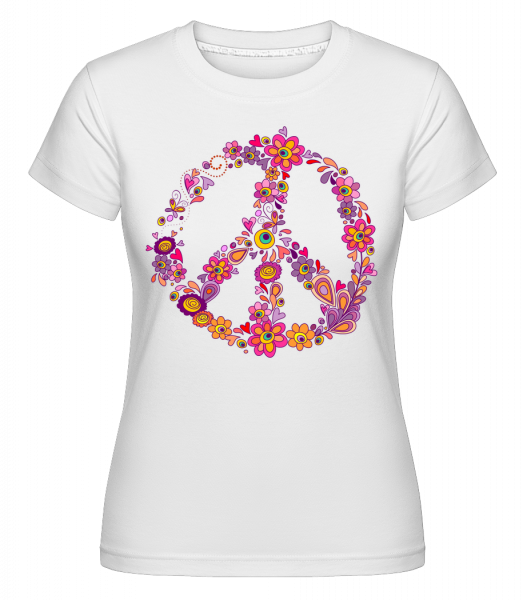 Peace Sign Flowers - Shirtinator Women's T-Shirt - White - Vorn