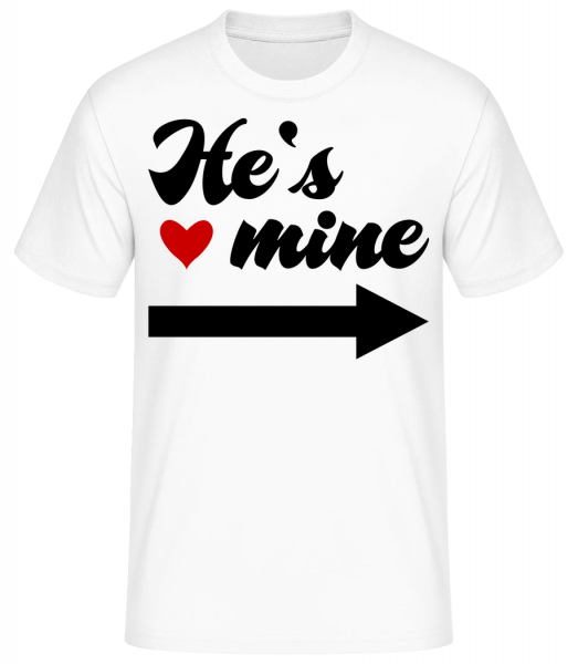 He's Mine - Basic T-shirt - White - Vorn