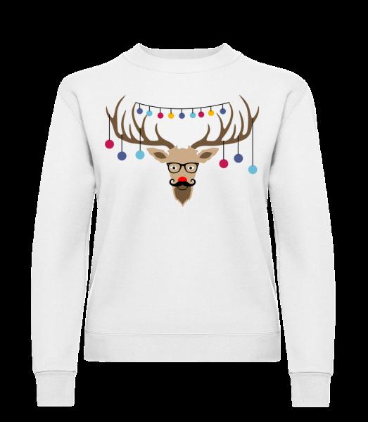 Christmas Reindeer - Classic Ladies' Set-In Sweatshirt - White - Vorn