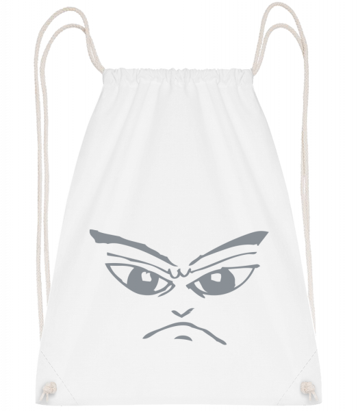 Evil Face Symbol Grey - Drawstring Backpack - White - Vorn