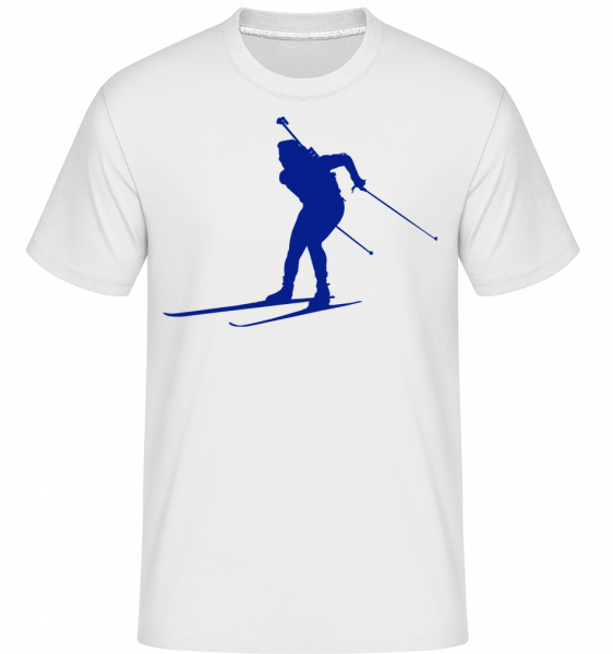 Skiing Cross Country Blue - Shirtinator Men's T-Shirt - White - Vorn
