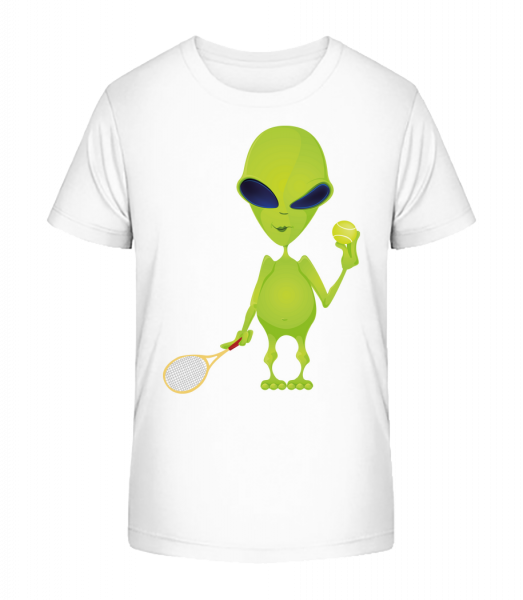 Alien Plays Tennis - Kid's Premium Bio T-Shirt - White - Vorn