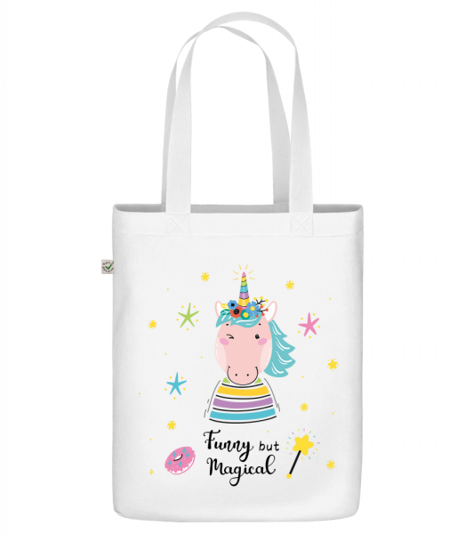 "Funny But Magical - Organic ""Earth Positive"" tote bag - White - Vorn"