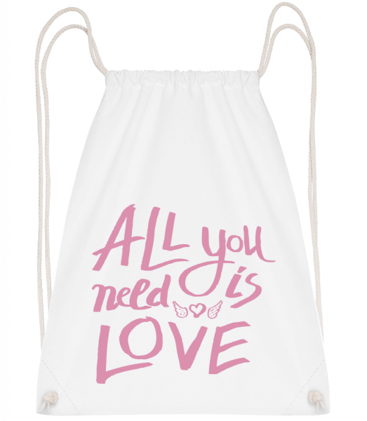 All You Need Is Love - Drawstring Backpack - White - Vorn