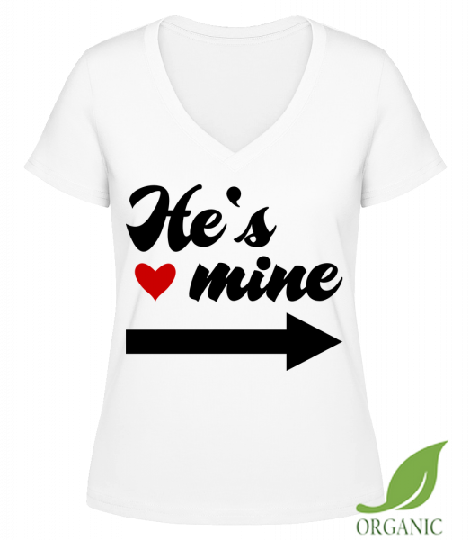 "He's Mine - ""Janet"" Organic V-Neck T-Shirt - White - Vorn"