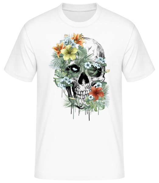 Flower Skull - Men's Basic T-Shirt - White - Vorn