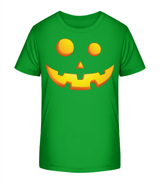 Laughing Pumpkin Face - Kid's Premium Bio T-Shirt - Green - Vorn