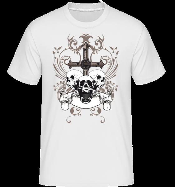 Cross And Skulls -  Shirtinator Men's T-Shirt - White - Vorn