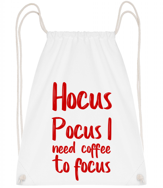 Hocus Pocus I Need Coffee To Foc - Drawstring Backpack - White - Vorn
