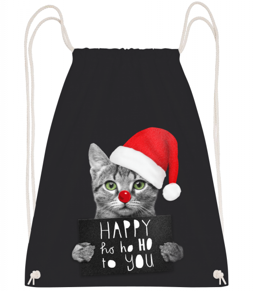 Happy Ho Ho Ho To You - Drawstring Backpack - Black - Vorn