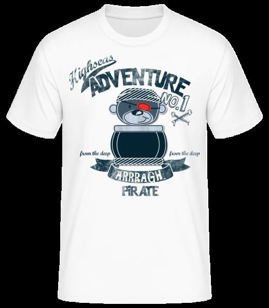 Pirate Teddy Adventure - Men's Basic T-Shirt - White - Vorn