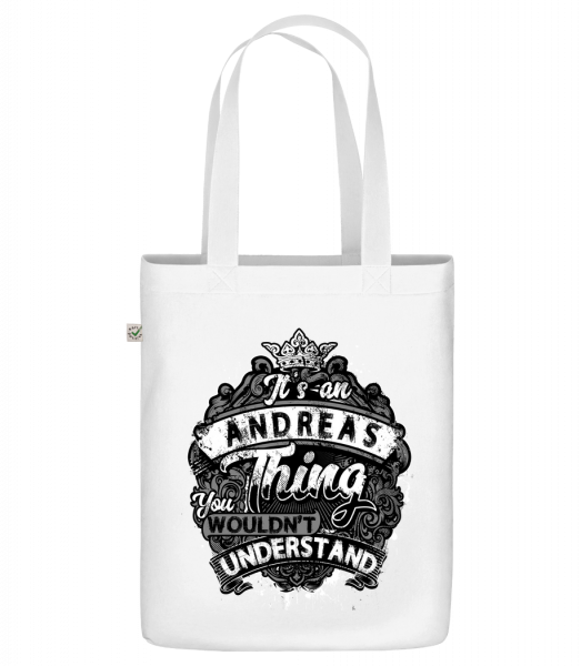 "It's An Andreas Thing - Organic ""Earth Positive"" tote bag - White - Vorn"