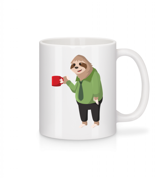 Sloth Drinks Coffee - Mug - White - Vorn