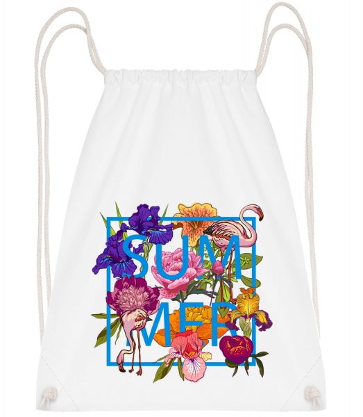 Summer Flowers Sign - Drawstring Backpack - White - Vorn