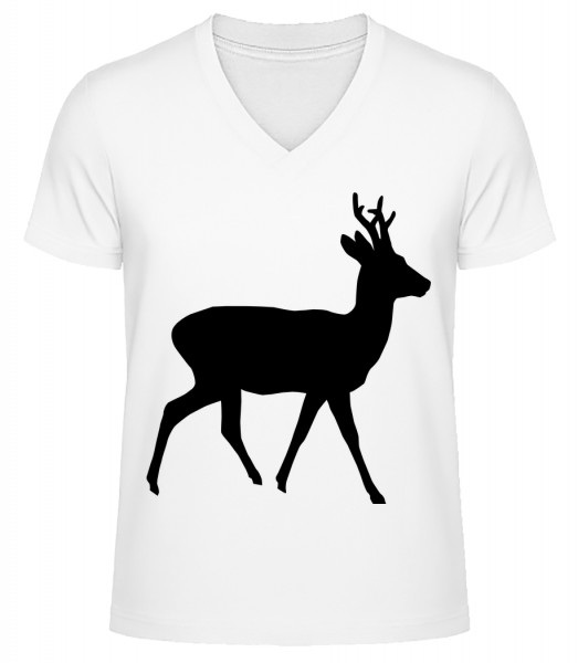 Silhouette Deer - Men's V-Neck Organic T-Shirt - White - Vorn