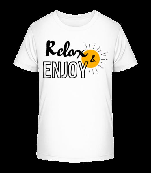 Relax Enjoy - Kid's Premium Bio T-Shirt - White - Vorn