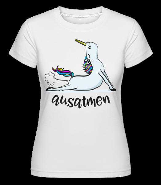 Yoga Unicorn Exhale - Shirtinator Women's T-Shirt - White - Vorn