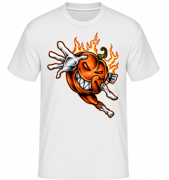 Burning Pumpkin - Shirtinator Men's T-Shirt - White - Vorn