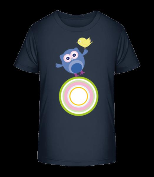 Cute Owl And Bird - Kid's Premium Bio T-Shirt - Navy - Vorn