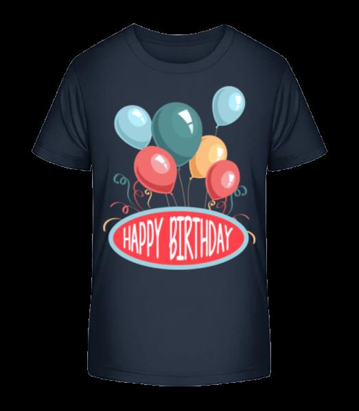 Happy Birthday Balloons - Kid's Premium Bio T-Shirt - Navy - Vorn