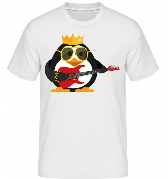 Penguin King Guitar -  Shirtinator Men's T-Shirt - White - Vorn