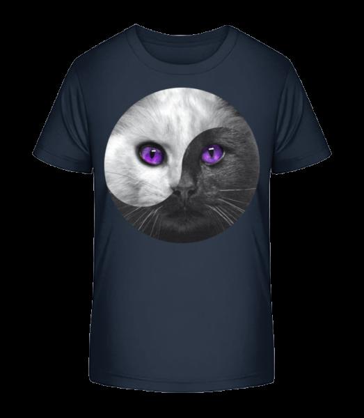 Yin And Yang Cat - Kid's Premium Bio T-Shirt - Navy - Vorn