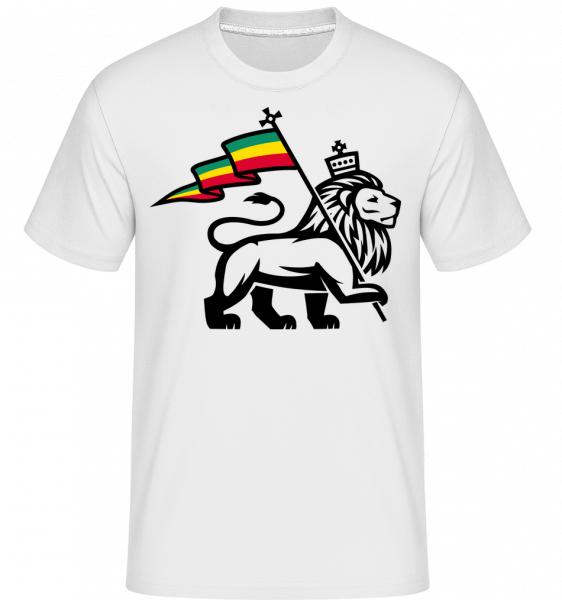 Lion Jamaican Flag - Shirtinator Men's T-Shirt - White - Vorn