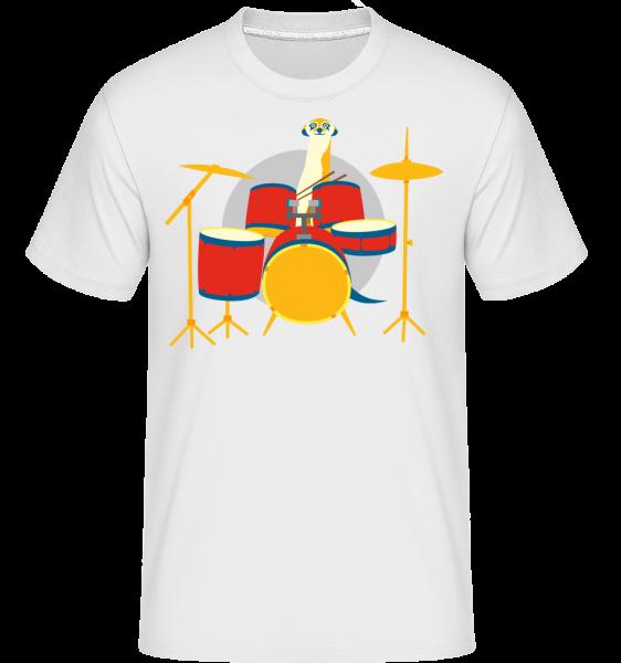 Meerkat Playing Drums - Shirtinator Men's T-Shirt - White - Vorn