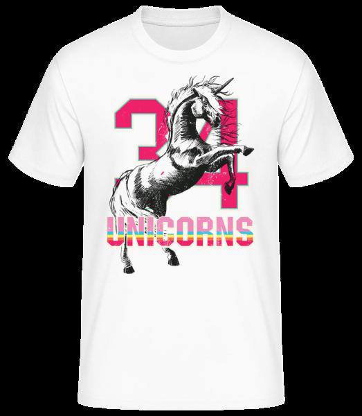 34 Unicorns - Men's Basic T-Shirt - White - Vorn