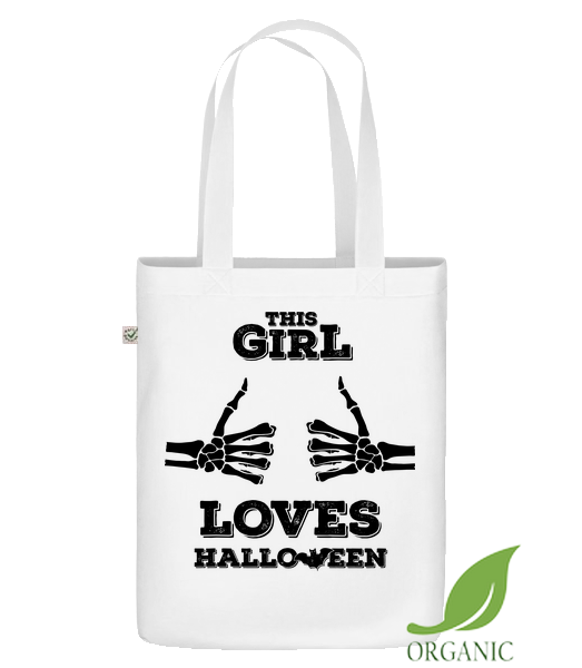 "This Girl Loves Halloween - Organic ""Earth Positive"" tote bag - White - Vorn"