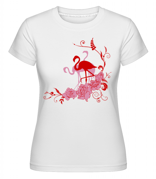 Flamingos Flowers - Shirtinator Women's T-Shirt - White - Vorn