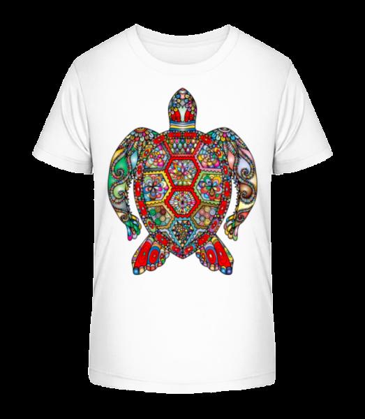 Geometric Turtle - Kid's Premium Bio T-Shirt - White - Vorn