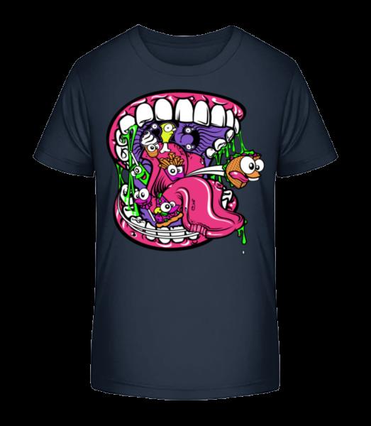 Fast Food Mouth - Kid's Premium Bio T-Shirt - Navy - Vorn