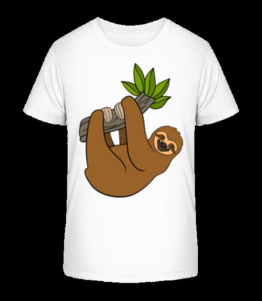 Sloth Hangs On The Branch - Kid's Premium Bio T-Shirt - White - Vorn