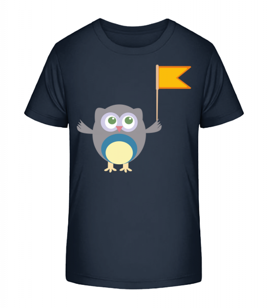 Cute Owl With Flag - Kid's Premium Bio T-Shirt - Navy - Vorn