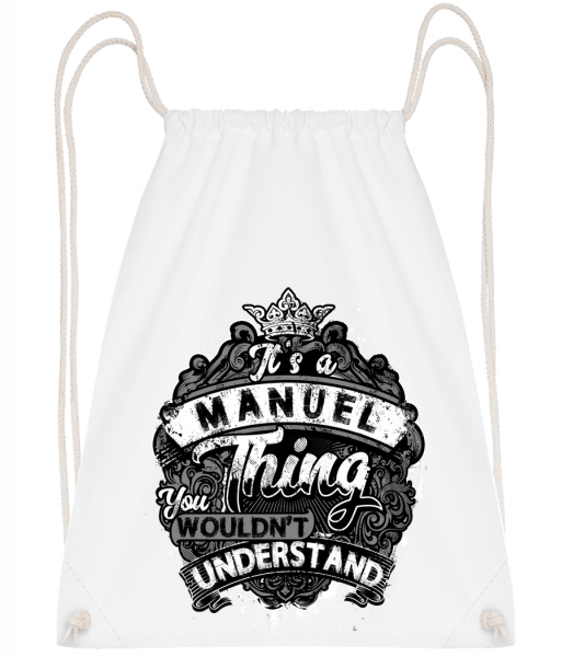 It's A Manuel Thing - Drawstring Backpack - White - Vorn